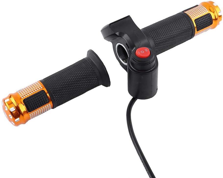 Juego de Puños de Acelerador 1 Par 12-84 V Manillar de Acelerador de Bicicleta Eléctrica de 3 Velocidades Izquierda Derecha con Pantalla LED (Dorado)