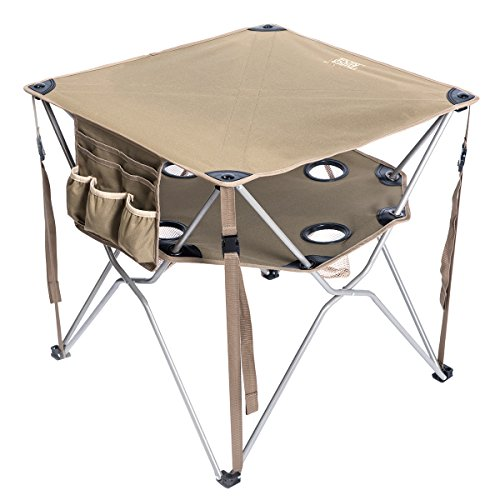 Timber Ridge Folding Table Utility Outdoor Camping Lightweight Desk with Carry Bag and Multi-Function Accessories, Brown (Table Round Timber)