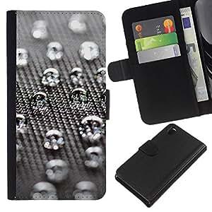 KingStore / Leather Etui en cuir / Sony Xperia Z3 D6603 / Gotas de agua