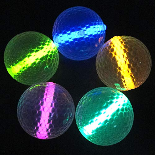 Glow Golf Balls (Set of 20 Night Golf Balls) - Glowing Golf Balls with Glow Stick Inserts (Assorted) -