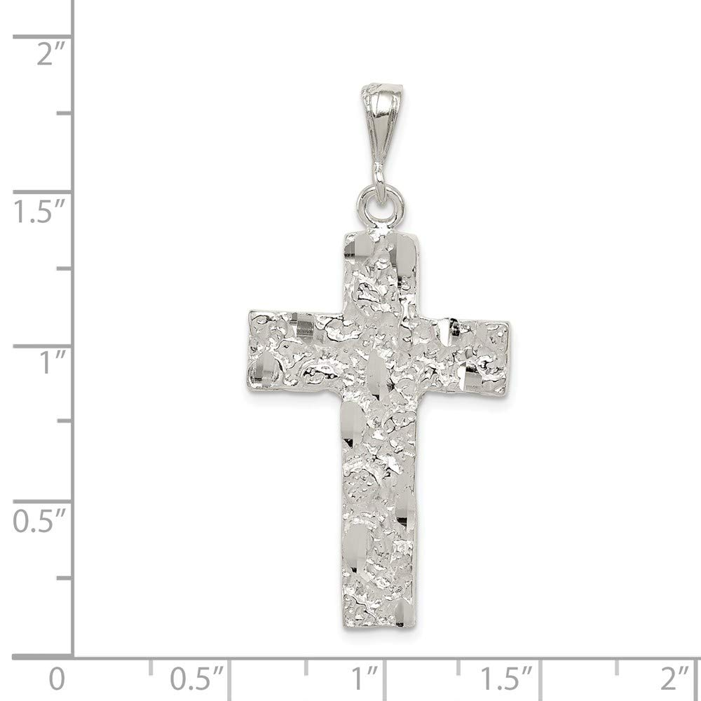 Jewelry Stores Network Nugget Cross Pendant in 925 Sterling Silver 53x27mm
