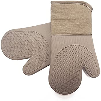 Heat Resistant Kitchen Oven Mitts 500 F With Non-Slip Silicone Cotton Set of 2,Oven Gloves and Pot Holder for BBQ Cooking Baking Grilling Barbecue Microwave Machine Washable for men women (Brown-Full)
