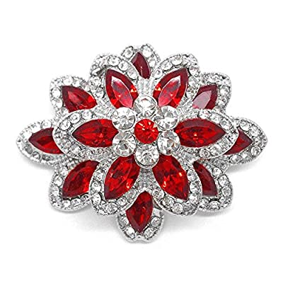 Cheap Katie's Style Marquise Red and Round Clear Rhinestone Crystal Vintage Flower Brooch Pin for cheap