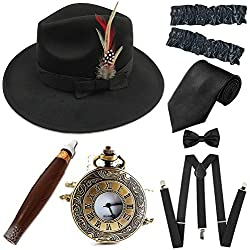 1920s Trilby Manhattan Fedora Hat, Plastic Cigar/Gangster Armbands/Vintage Pocket Watch,Suspenders Y-Back Trouser Braces,Pre Tied Bow Tie,Black&Black