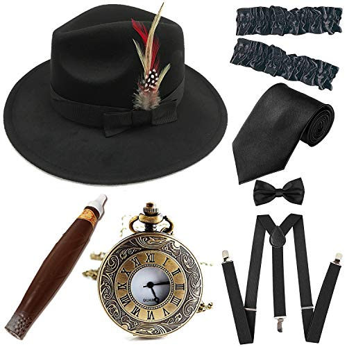 1920s Trilby Manhattan Fedora Hat, Plastic Cigar/Gangster Armbands/Vintage Pocket Watch,Suspenders Y-Back Trouser Braces,Pre Tied Bow Tie,Black&Black from ZeroShop
