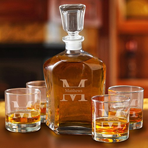 Decanter Gift - Personalized Whiskey Decanter 4 Low Ball Glasses Gift Set Monogrammed with Name and Initial - Stamped