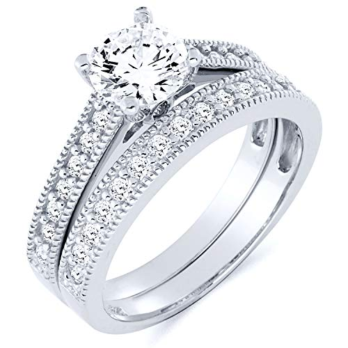 SOLID Wedding Engagement Ring and Wedding Band 2 Piece Set - Size 9 ()