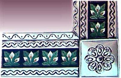 Fine Crafts Imports Big Silver 3-Lily Tile Talavera Tin Mirror