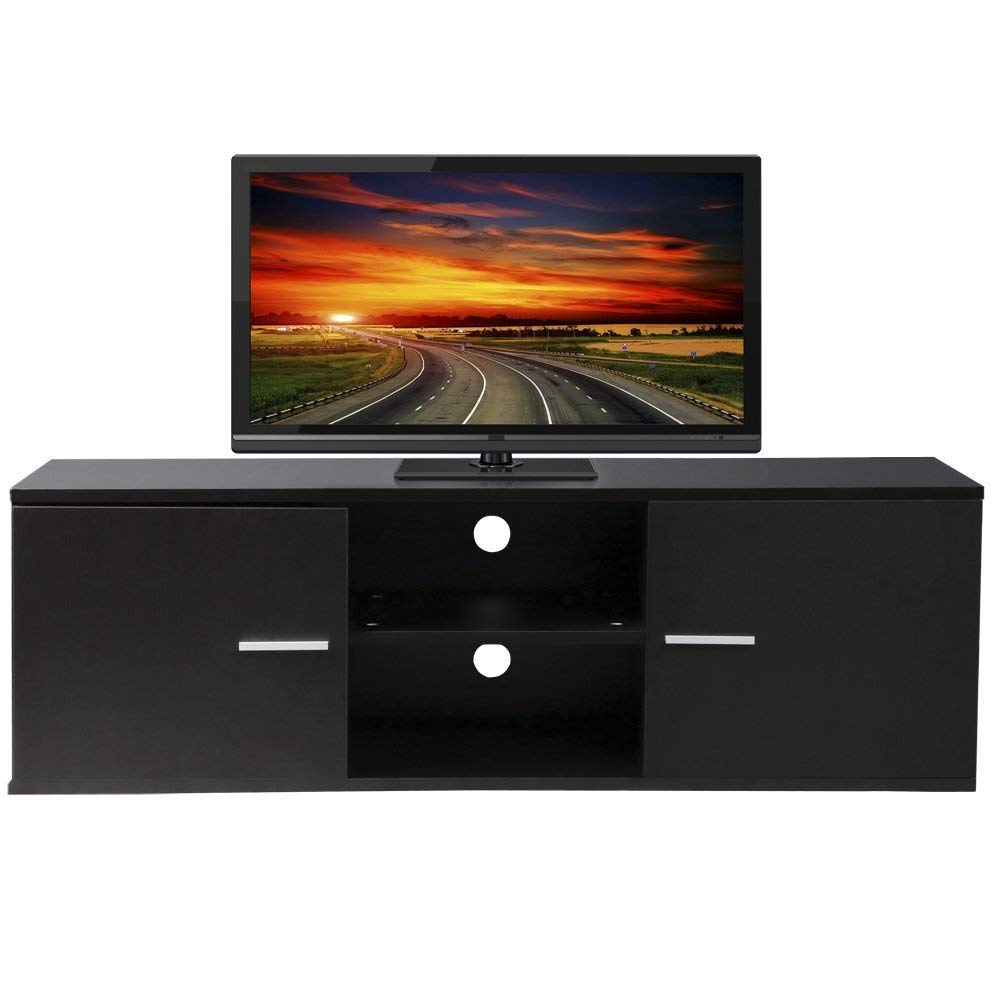 Amazon.com: Wood TV Stand Storage Console, TV Component Bench, Econ  Entertainment Center with Storage Bins, Black: Home & Kitchen