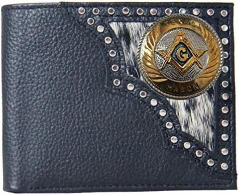 Custom Large Texas Mason Justin Black Hair on Hide Bi-Fold Wallet