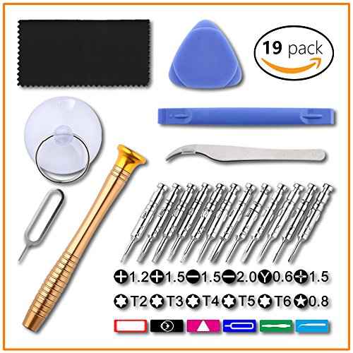 Price comparison product image Torx Phillips Head Screwdriver Set, JULAM Precision T2 T3 T4 T5 T6 Torx Bit Set Pentalobe Opening Repair Tool Kit For Cell Phone Smartphone iPhone Computer Tablet PC Laptop, 19 In 1