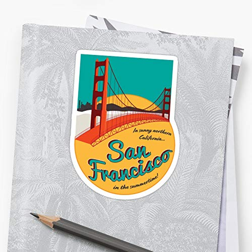 Retro San Francisco Sticker Sticker Cute Stickers 3 pieces for Car, Laptop, Phone, Luggage, Skateboard, Motorcycle, Bicycle - Decal Stickers for Teens, Girls, Boys, Adults - Stickers Funny (Stores San Francisco Sofa)