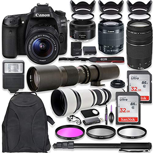 - Canon EOS 80D DSLR Camera with 18-55mm Lens Bundle EF 75-300mm III Lens, 50mm f/1.8, 500mm Lens & 650-1300mm Lens Backpack + 64GB Memory + Monopod + Professional Bundle