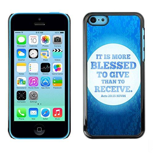 DREAMCASE Citation de Bible Coque de Protection Image Rigide Etui solide Housse T¨¦l¨¦phone Case Pour APPLE IPHONE 5C - IT IS MORE BLESSED TO GIVE THAN TO RECEIVE - ACTS 20:35