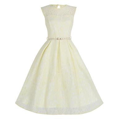 Lindy Bop \'Aleena\' Pale Yellow Lace Prom / Bridesmaid Dress at ...