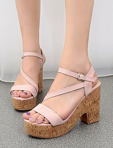 ShangYi Women's Shoes Leatherette Chunky Heel Open Toe Sandals Dress Pink / White
