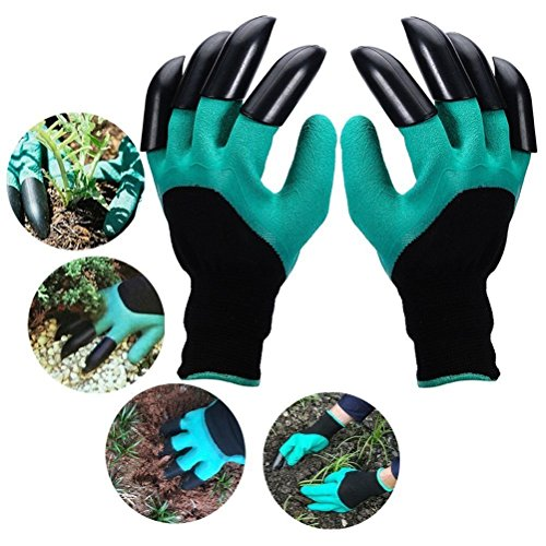 YougIka Garden Genie Gloves with Fingertips Claws Quick Easy to Dig and Plant Safe for Rose Pruning Gloves Mittens Digging gloves (1 Pair Right + Left Claws)