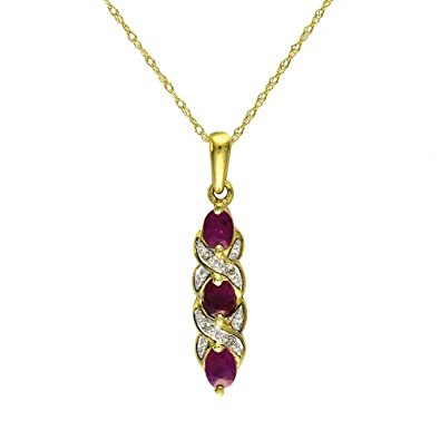 Ivy Gems 9ct Yellow Gold Ruby and Diamond Pendant with 46cm Prince of Wales Chain DXv8xOeku