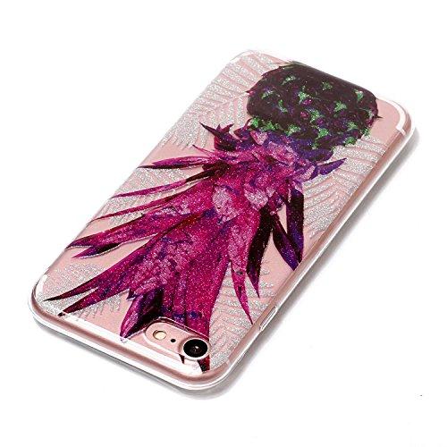 "Hülle iPhone 7 / iPhone 8 , LH Lila Blätter Ananas TPU Weich Muschel Tasche Schutzhülle Silikon Handyhülle Schale Cover Case Gehäuse für Apple iPhone 7 / iPhone 8 4.7"""