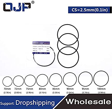 Gimax 1PC Rubber Ring Black FKM//Viton O-Rings Seals OD70//72//75//80//85//90//95//1002.5mm O Ring Gaskets Oil Resistance Ring Sealing Washer Size: 100x95x2.5mm, Thickness: 1pieces