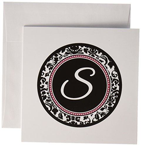 Letter S stylish monogrammed circle initial damask - Greeting Cards, 6 x 6 inches, set of 6 (gc_154611_1)