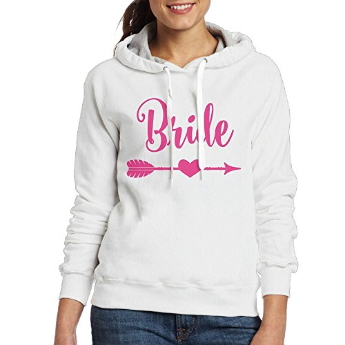 Replacement Small Toothpicks (Women Hooded Sweatshirt Bride Pink Heart Arrow Pullover Cotton Hoodies Long Sleeve Drawstring Sweartshirts Small White)