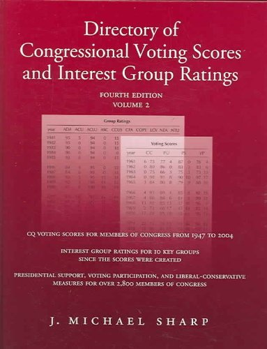 Directory Of Congressional Voting Scores And Interest Group Ratings (2 Volume Set) (Directory of Congressional Voting Scores & Interest Grp Ratg) J. Michael Sharp