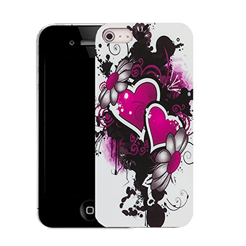 Mobile Case Mate IPhone 4 clip on Silicone Coque couverture case cover Pare-chocs + STYLET - pink double heart pattern (SILICON)