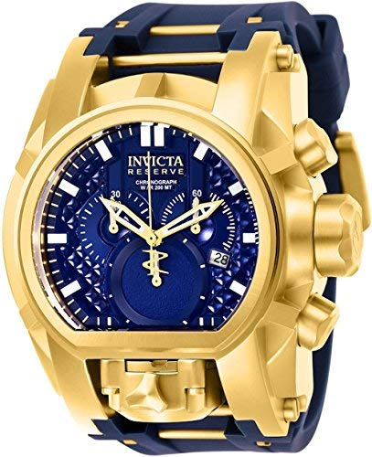 Invicta Men's Reserve Stainless Steel Quartz Watch with Silicone Strap, Blue, 34 (Model: 25608) (Bolt Invicta Reserve Zeus)