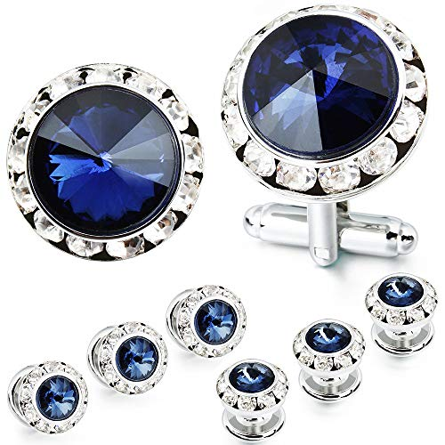 - AMITER Mulit-Colors Crystal Cuff Links and Studs Set for Mens Tuxedo Shrit Wedding Accessories