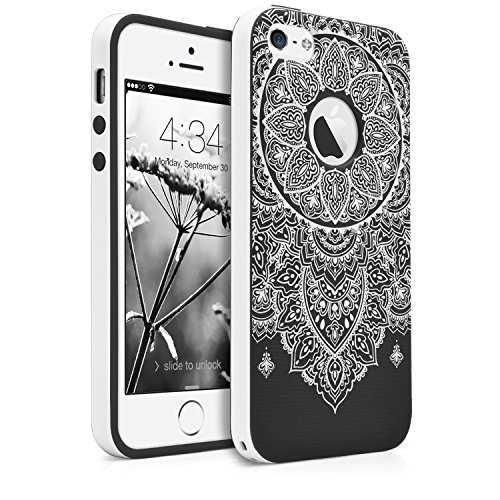 iPhone SE / 5S / 5 Case, MagicMobile Slim Hybrid Case [Cute White Henna Mandala Pattern] Rugged Paisley Print Lace Floral Customized TPU with Bumper Frame Dual Layers - [Black] - Henna Phone Cases Iphone 5s