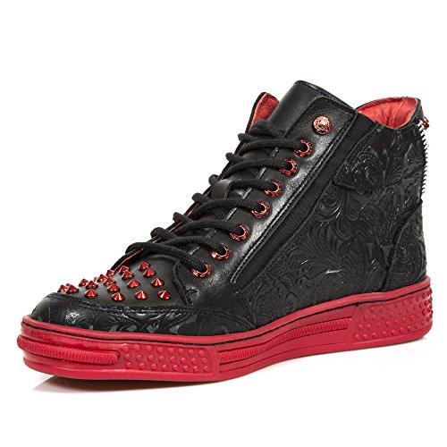 New Rock Ps039 S12 - Zapatillas de Deporte de Otra Piel Para Hombre Negro Noir (Vintage Flower Negro/Raw Negro) 38