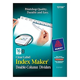 Avery Index Maker Double-Column Clear Label Dividers, 16 Tabs per Set, 1 Set per Pack (13150)