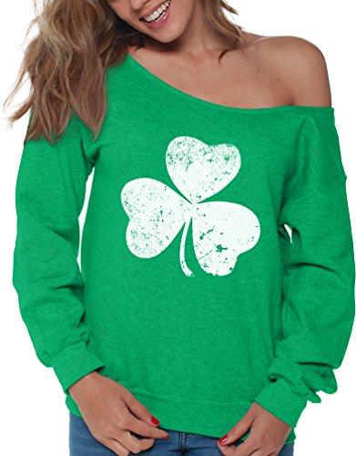 Vizor Clover Leaf Off Shoulder Sweatshirt Shamrock Sweater for St. Patrick's Day Green S