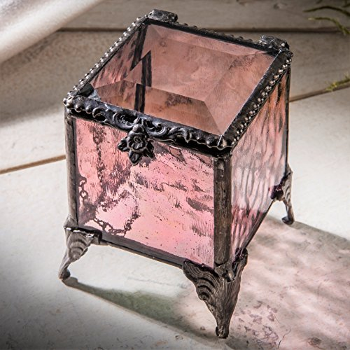 Glass Treasure Box - J Devlin Box 842 Pink Rose Glass Trinket Box Gift for Mom Keepsake Box