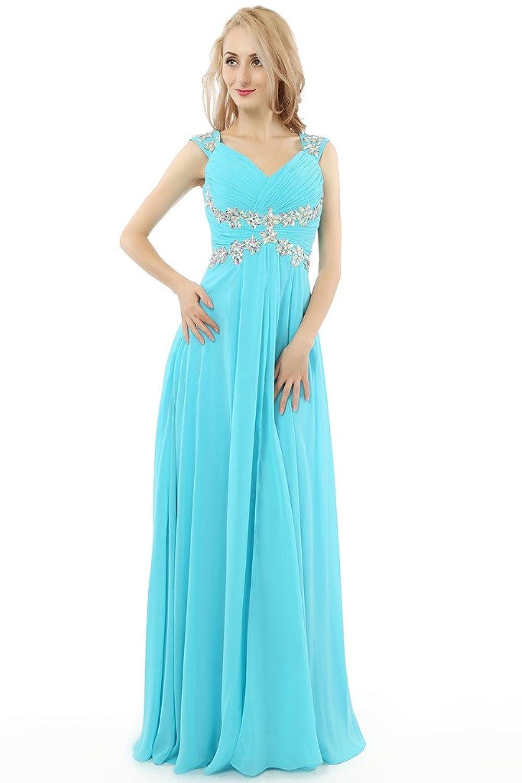HONGFUYU Perfect Ruched Long Formal Evening Dress Chiffon Bridesmaid Prom Dresses