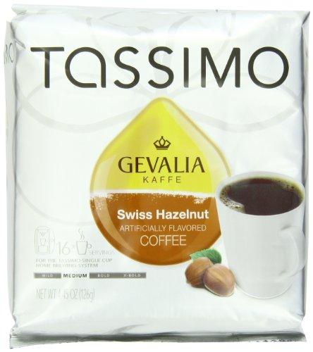 Tassimo GEVALIA Swiss Hazelnut Coffee, Medium, 16 Count T-Discs, (Pack of 2)