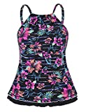 Firpearl Women's Swimsuit High Neck Retro Ruffle Hem Tankini Top Swimwear Black&Red Floral 14