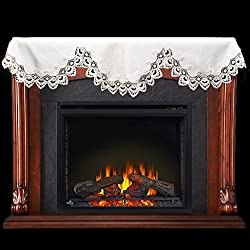 """Fireplace Mantel Scarf with White Peacock Lace on White 19"""" x 90"""" by Linens, Art and Things"""