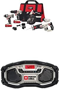PORTER-CABLE PCCK617L6  20V MAX Lithium Ion 6-Tool Combo Kit with Free USB Device with PORTER-CABLE PCC771B Bluetooth Radio