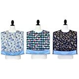 JustCare Adult Bib Protector Waterproof Backing & Optional Crumb Catcher (3 Pack)