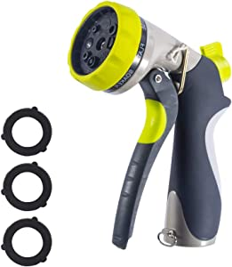 CUMBRE Garden Hose Nozzle – 8 Way Spray Patterns – High Pressure and Comfort-Grip for Outdoor Watering Lawns, Plants - Car Washing & Pet Showering
