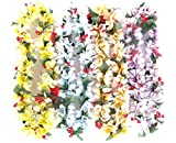 PARTYMASTER Hawaiian Colorful Luau Flower Leis Necklaces for Tropical Island Beach Theme Party Event,Set of 12