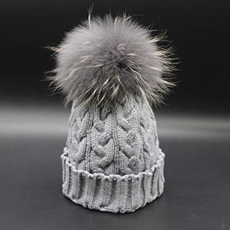 Amazon.com   Fur Pompom Hat Ladies Warm Knitted Wool Beanie Cap Winter Dyed  Real Raccoon Fur Hats for Women (Light grey Color)   Everything Else 800ee8b5a04