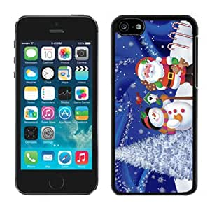 Iphone 5C Case,Christmas Snowman With Santa Claus Iphone 5C Black Plastic Case,Apple 5C Cover Case