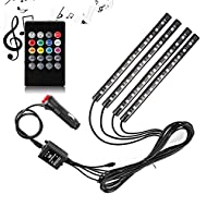 Car LED Strip Light, SurLight 4pcs 48 LED DC 12V Multicolor Music Car Interior Light LED Under Dash Lighting Kit with Sound Active Function and Wireless Remote Control, Car Charger Included