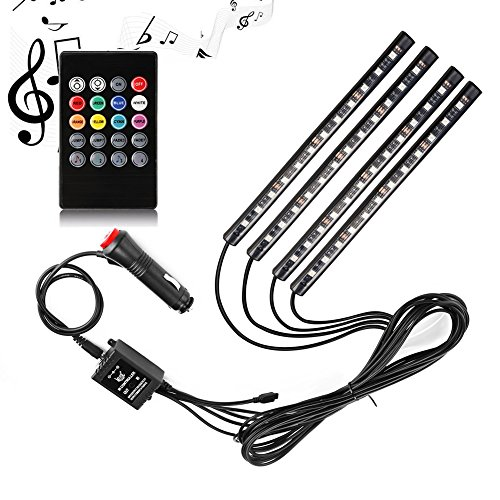 Car LED Strip Light, SurLight 4pcs 48 LED DC 12V Multicolor Music Car Interior Light LED Under Dash Lighting Kit with Sound Active Function and Wireless Remote Control, Car Charger (Auto Lighting)