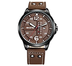 Amazon.com: SKONE Mens Watches Waterproof Analog Quartz Watch with Genuine Leather Chronograph Watches and Sport Big Face Military Watches for Men SK9430: ...