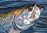 'Tarpon On' Tarpon Wall Art Print, Saltwater Fish Gift Idea, Tarpon Wall Art Decor, Saltwater Fishing Gift, Hand Signed Fishing Print By Jack Tarpon, Tarpon Pastel Painting, Angling Drawing.