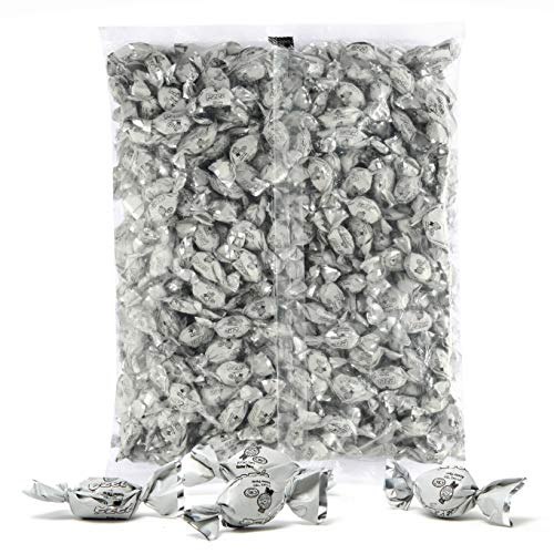 Color Themed Hard Candy - Bulk 4 Pound Bag of White Color Foil Mini Candies Individually Wrapped Green Apple Fruit-Filled Flavored Candy (Kosher, About 940 Candies) -